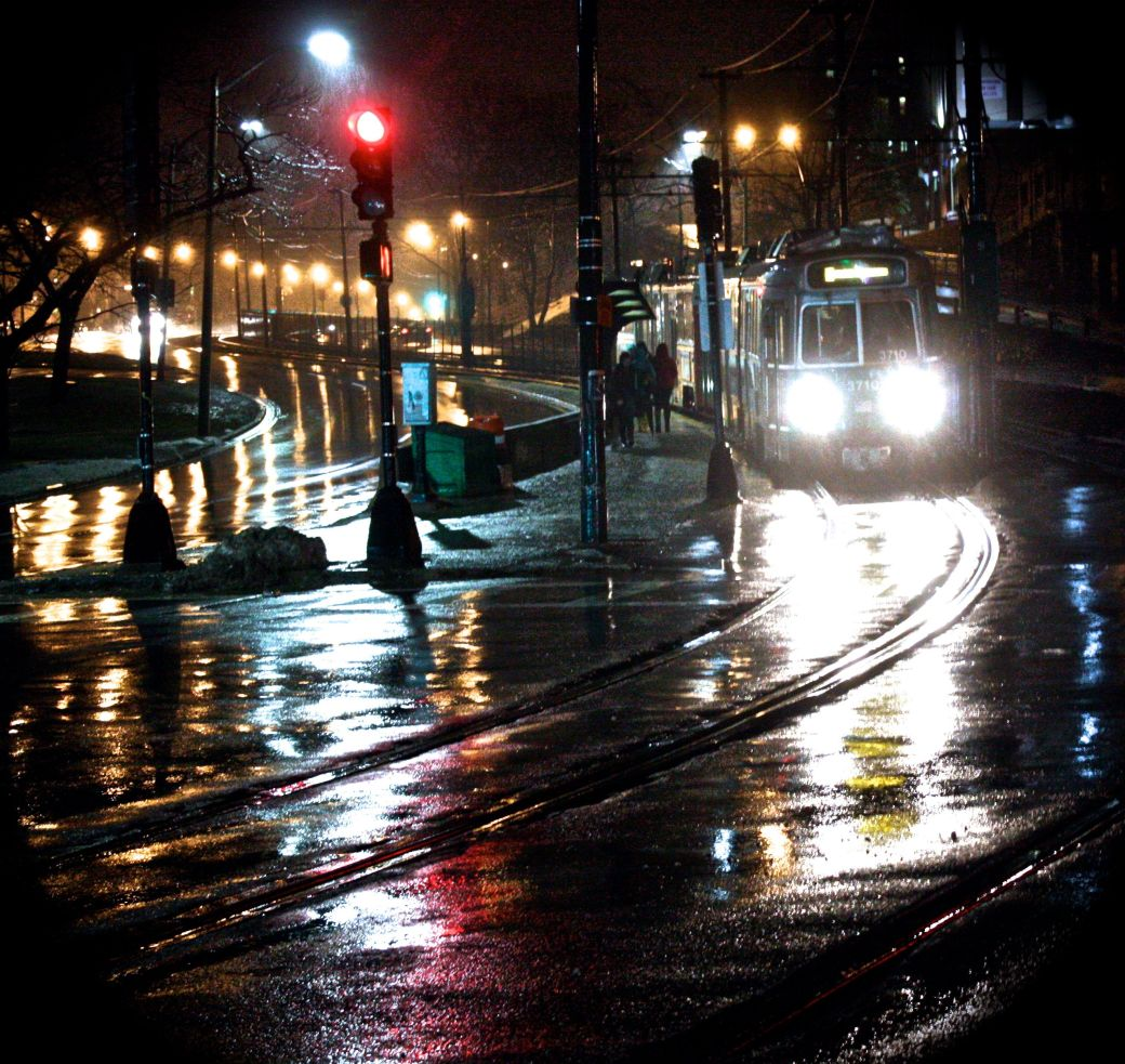 boston allston night rain