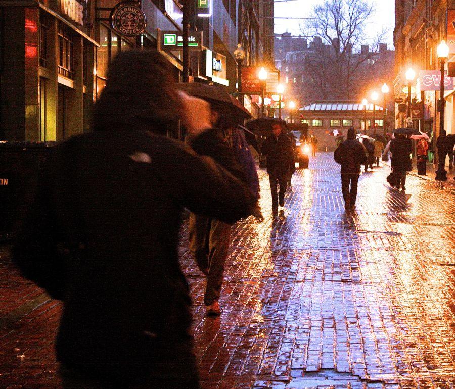 boston downtown crossing rain storm purple light