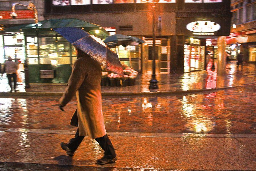 boston downtown crossing rain storm umbrella