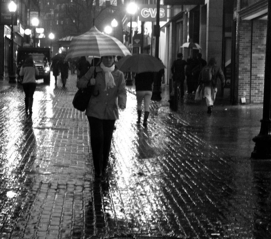 boston downtown crossing umbrella people black white