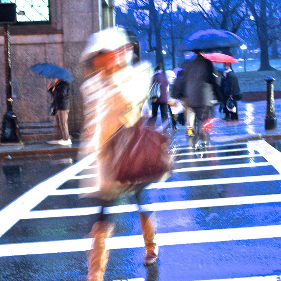 boston park street people speeding by