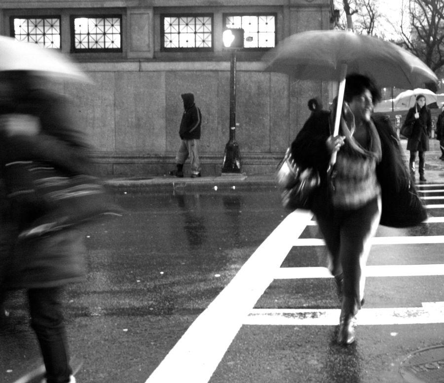 boston park street station people with umbrellas