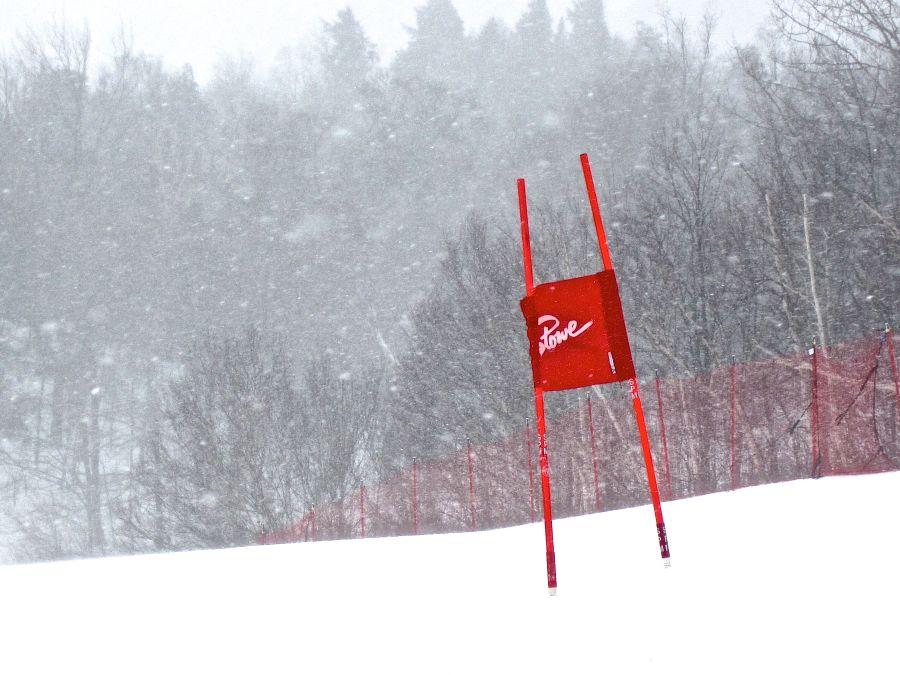 stowe vermont resort ski race sign