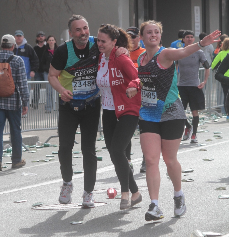 boston marathon 2013 family together after reports of explosion number 23485 and 23484