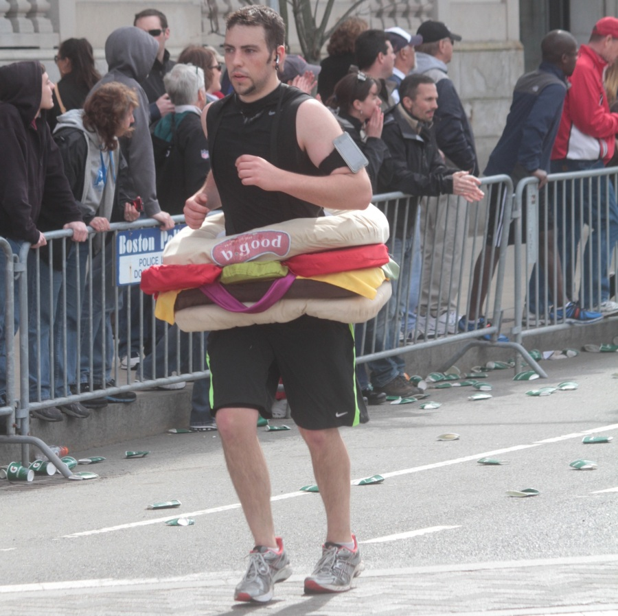 boston marathon 2013 man in b good hamburger outfit