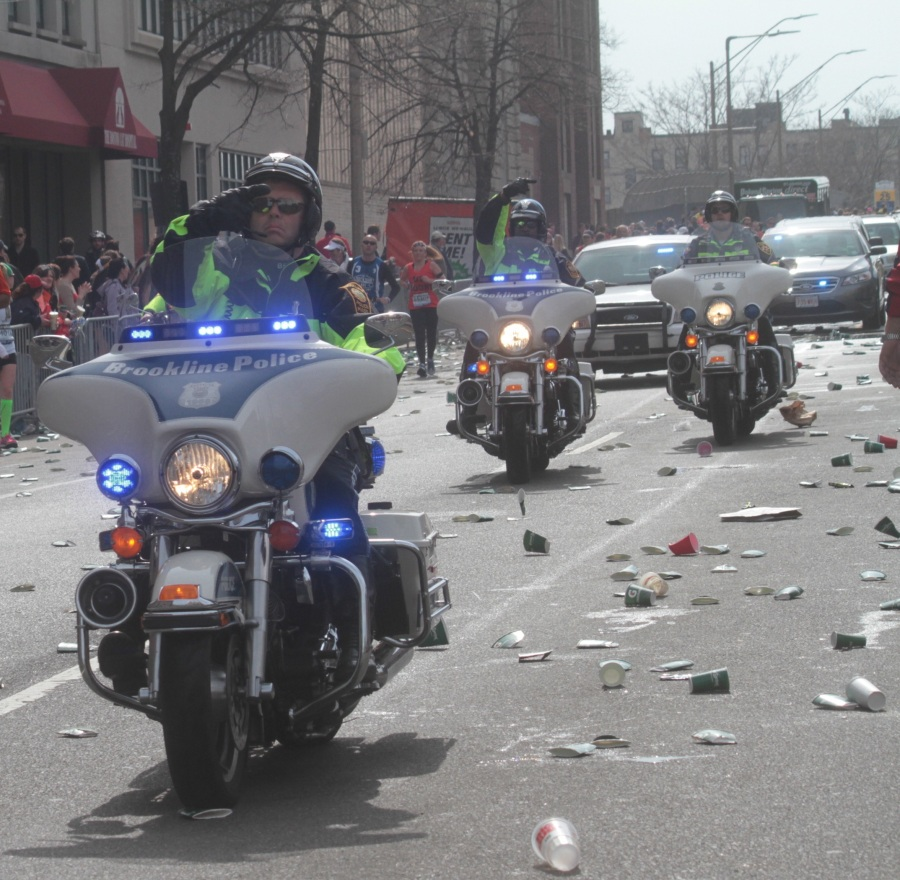boston marathon 2013 police motorcycles re routing runners after reports of explosions
