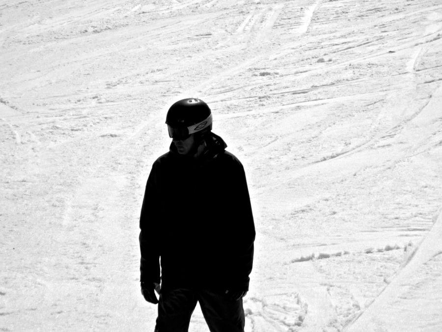 wachusett snow boarder dark black white