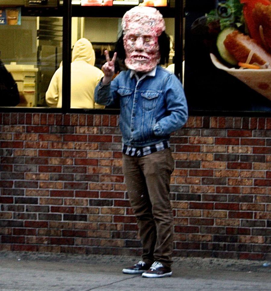 boston allston harvard avenue mcdonalds man in strange mask