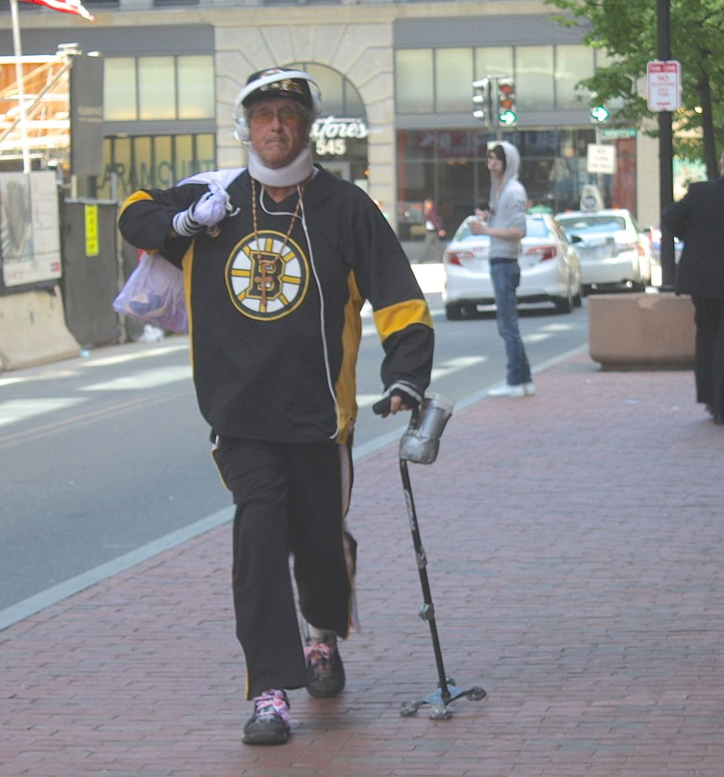 boston downtown crossing man in bruins shirt
