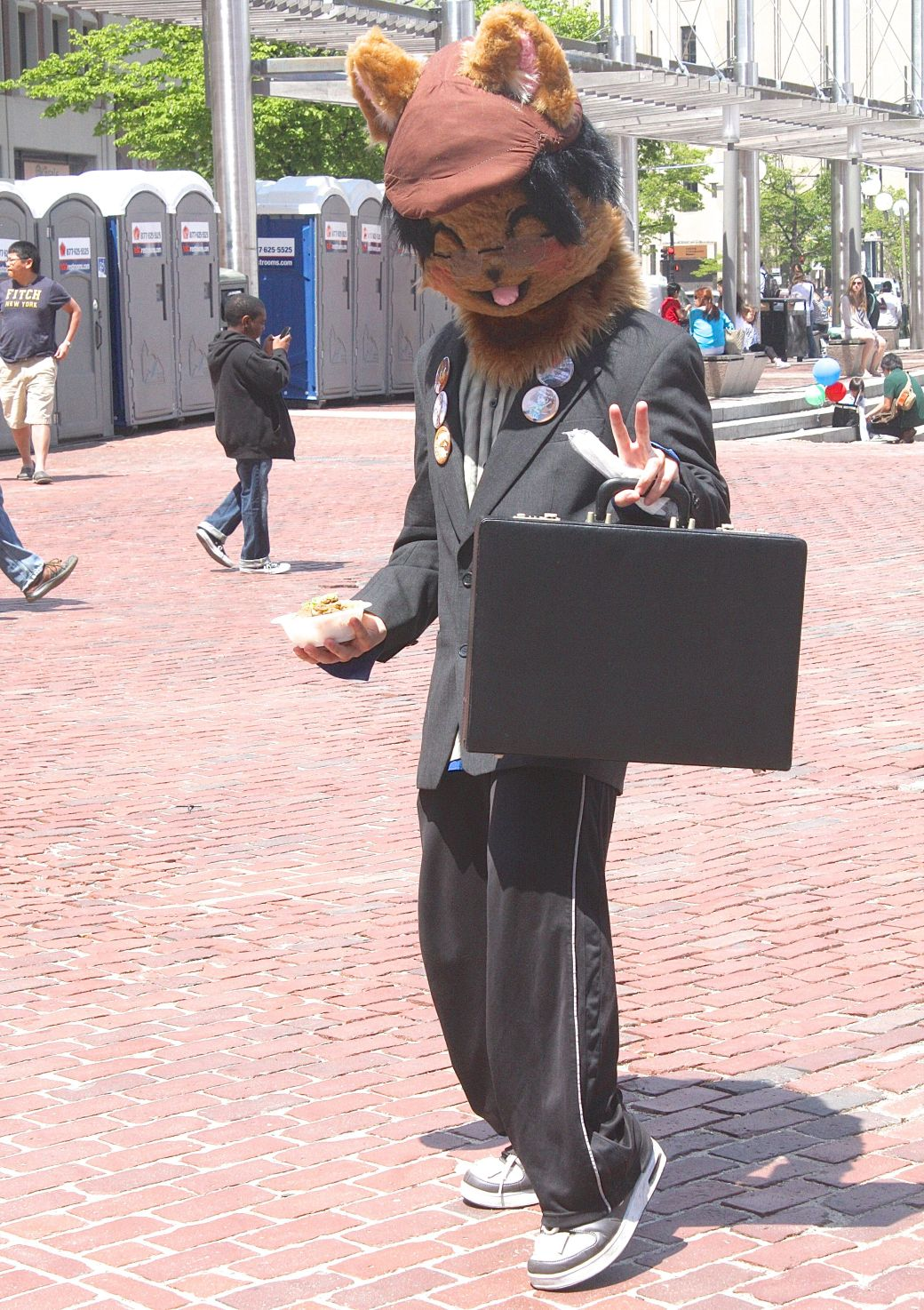boston government center japanese festival may 19 2013 man in cat mask