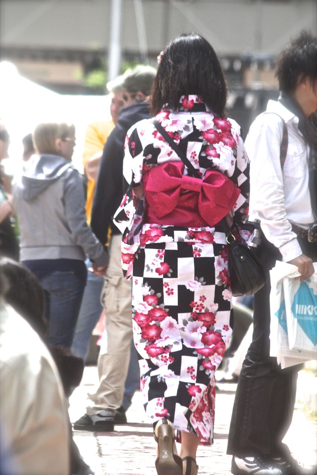 boston government center japanese festival may 19 2013 woman in kimono with bow in the back