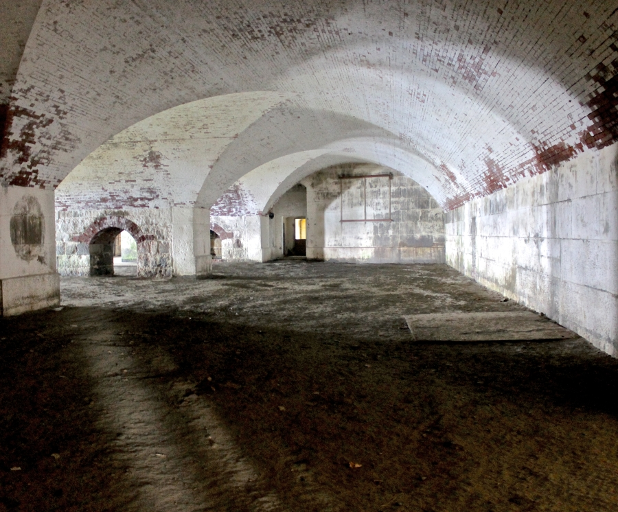 bosto georges island fort warren inside arches shadows