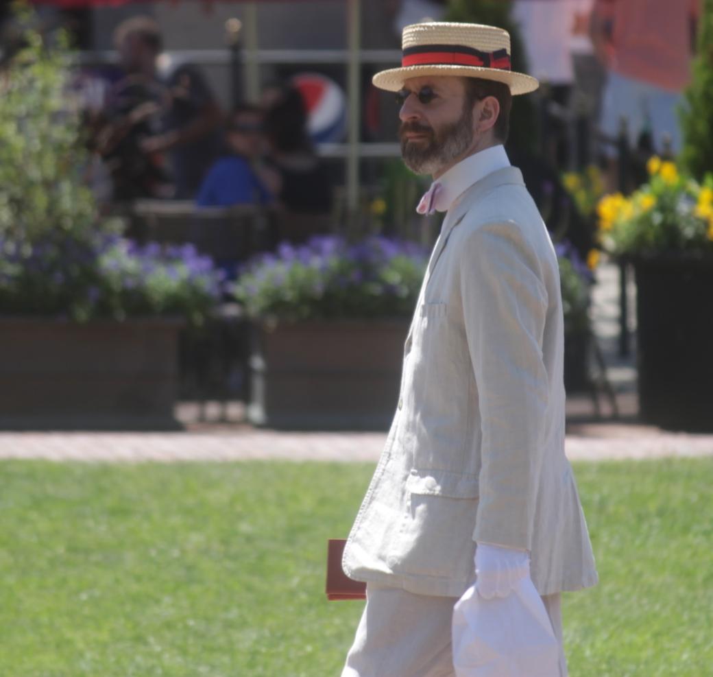 boston boston common man in boater linen suit