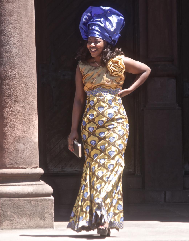 boston copley square copley square church wedding woman in nigerian outfit purple
