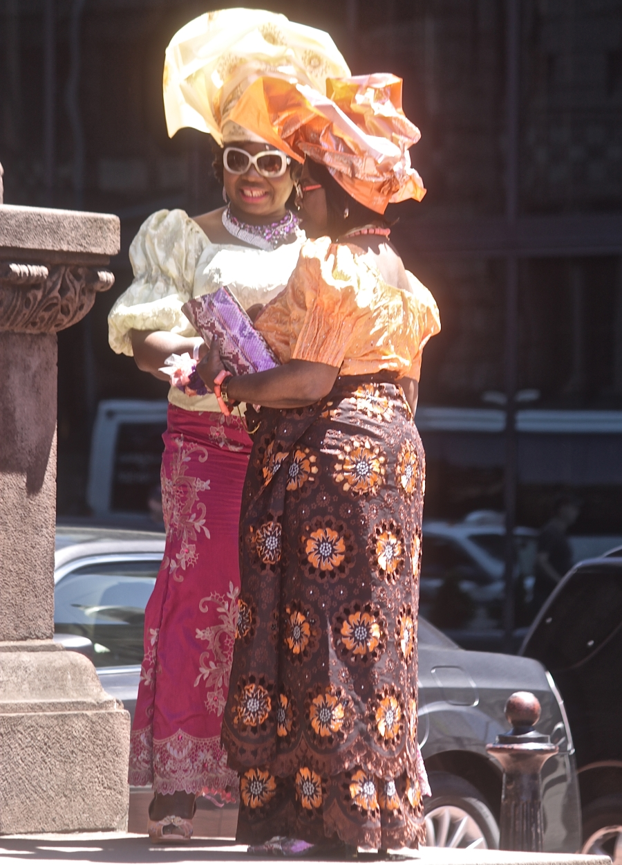 boston copley square copley square church woman in nigerian outfits orange yellow head dresses