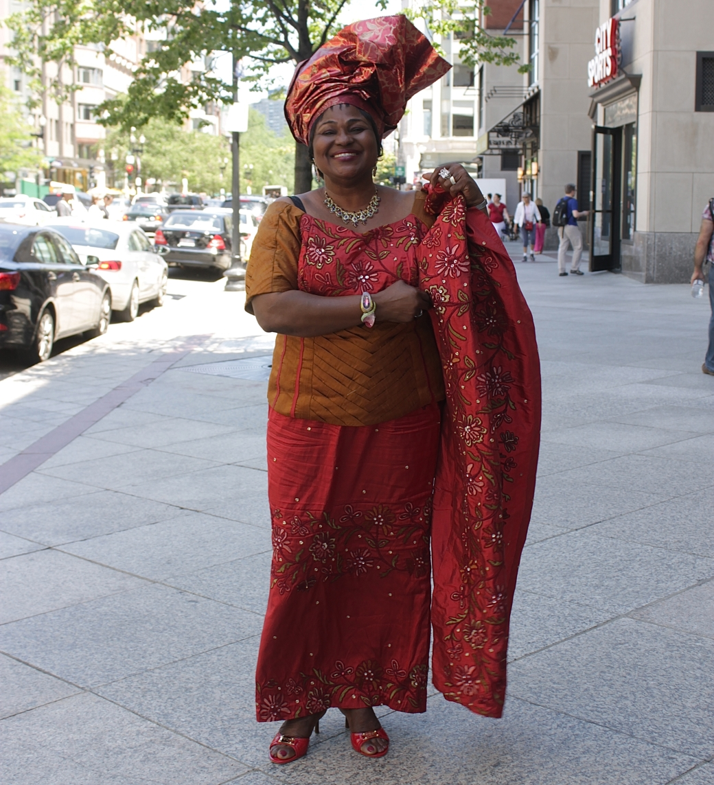 boston copley square woman nigerian outfit head dress
