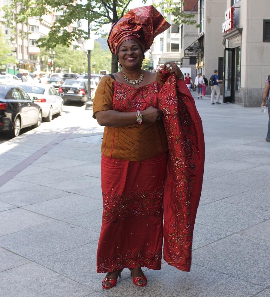 boston copley square woman nigerian outfit head dress