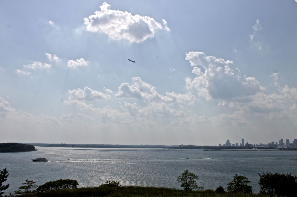 boston harbor spectacle island clouds airplane
