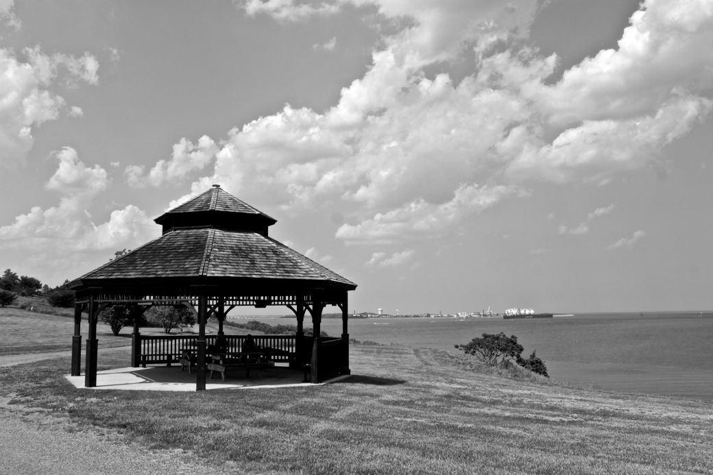 boston harbor spectacle island gazebo black white