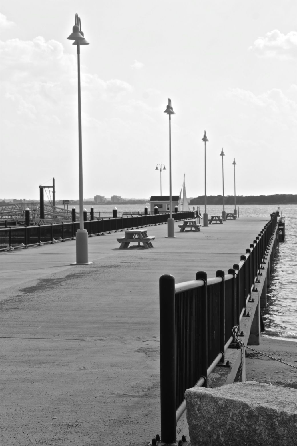 boston harbor spectacle island pathway black white