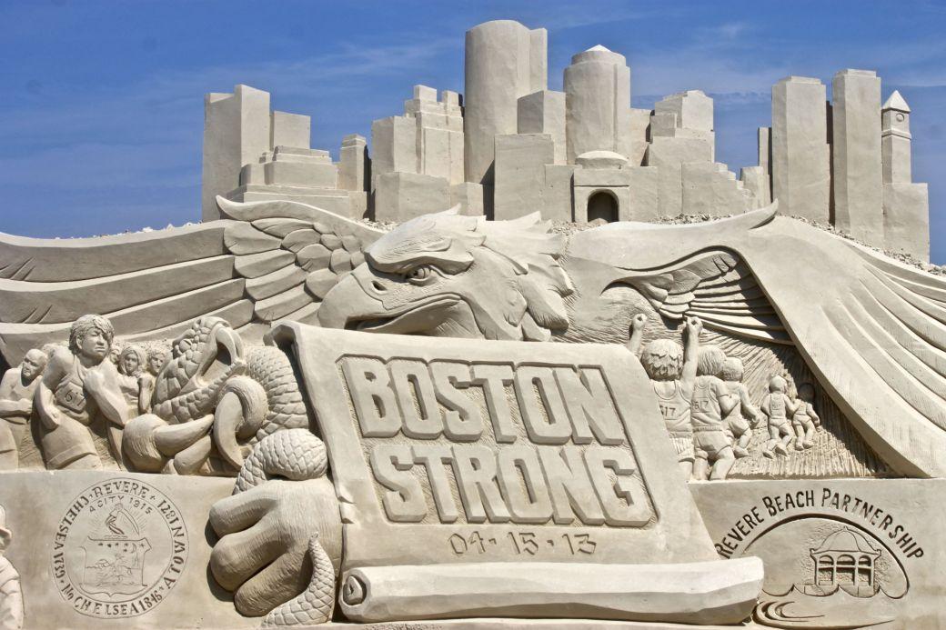 boston revere beach National Sand Sculpting Festival boston strong sand sculpture 2