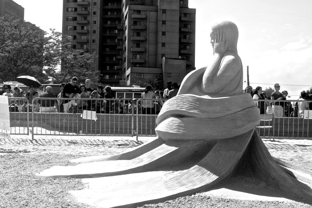 boston revere beach National Sand Sculpting Festival curving bottom woman sculpture