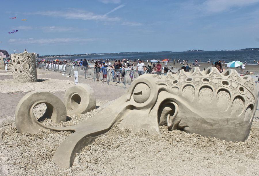 boston revere beach National Sand Sculpting Festival octopus sand sculpture
