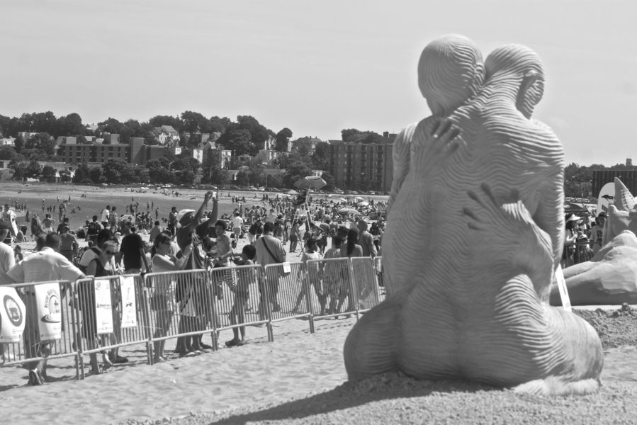 boston revere beach National Sand Sculpting Festival people embracing