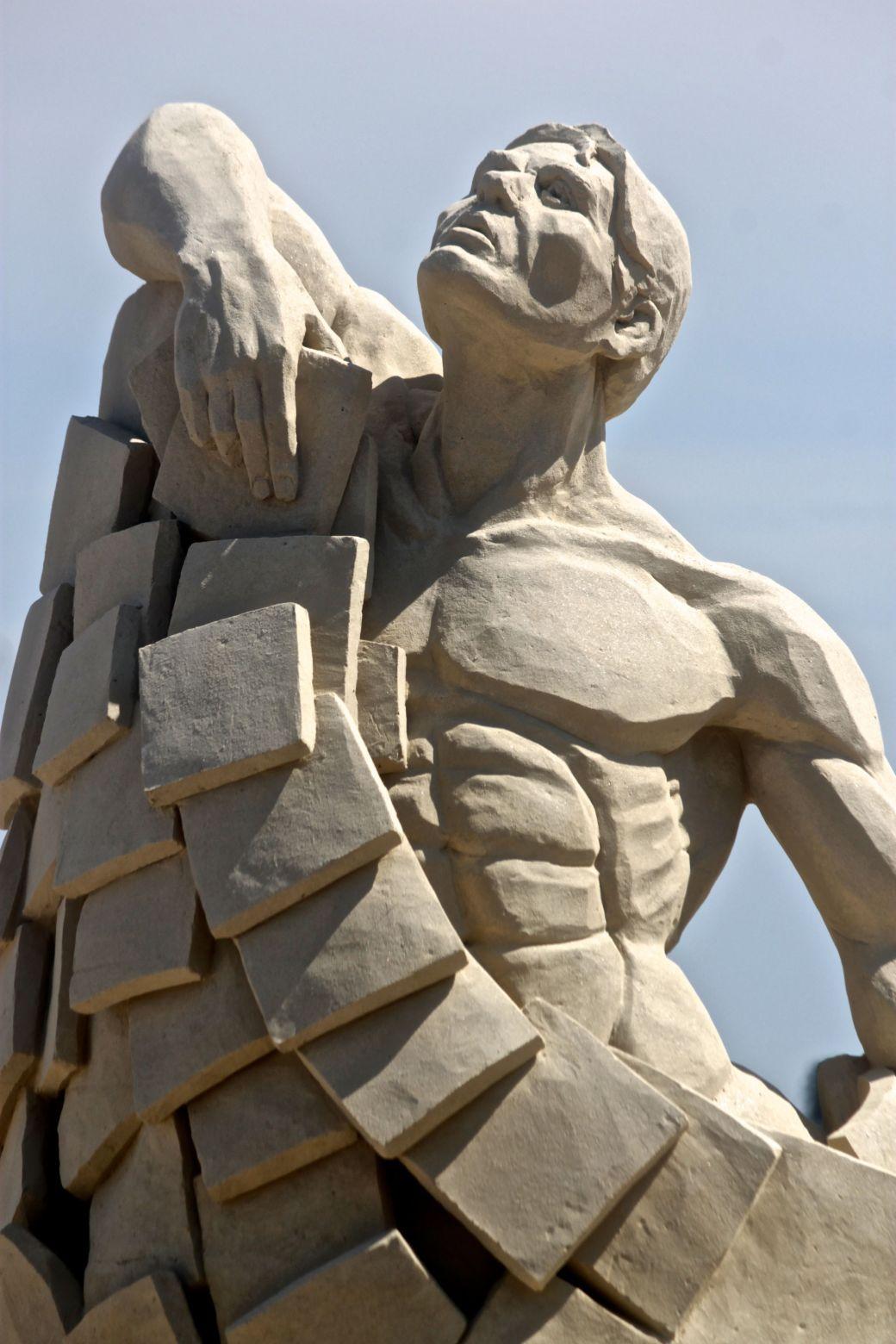 boston revere beach National Sand Sculpting Festival sculpture man looking upward