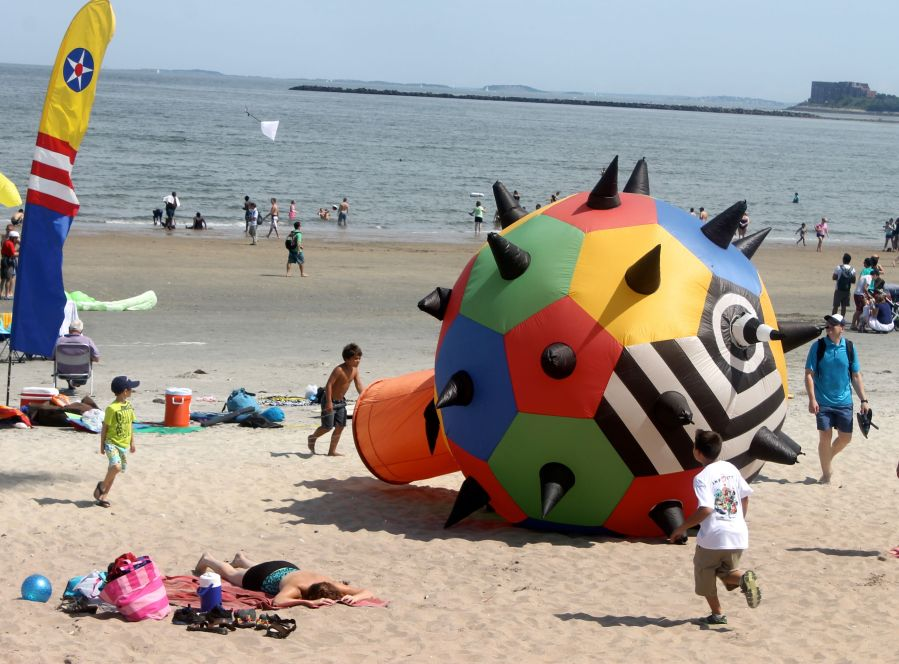 boston revere beach National Sand Sculpting Festival spike ball kite