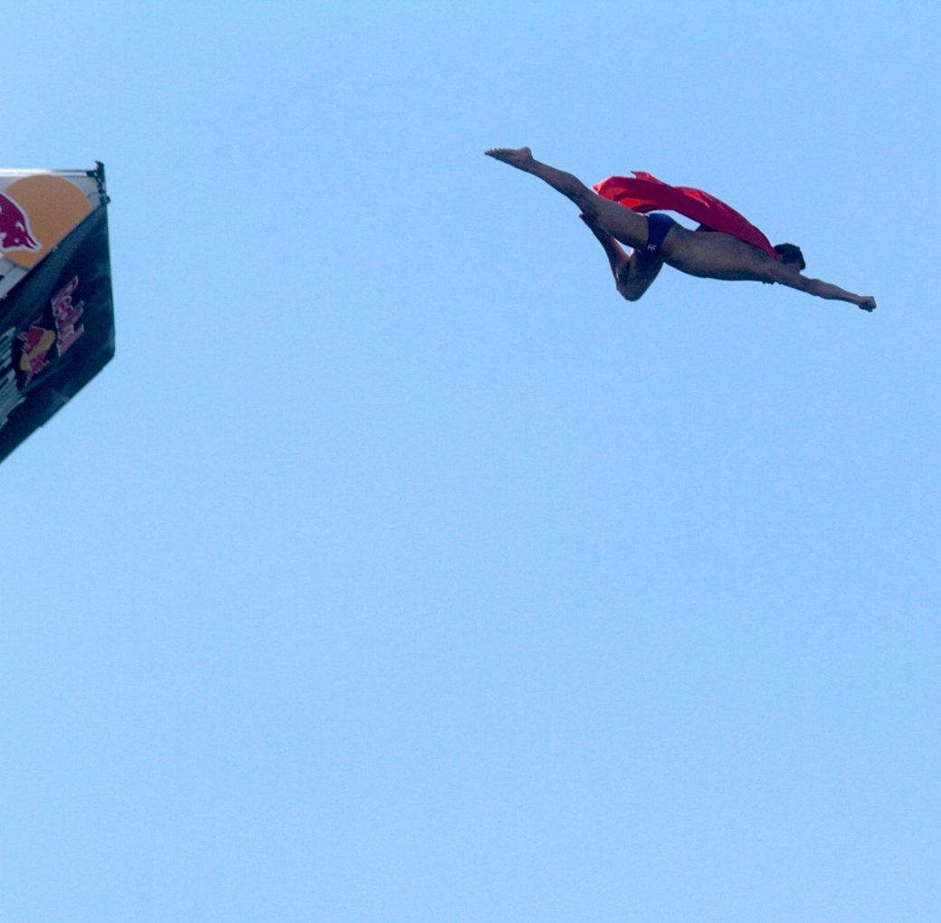 boston institute of contemporary art diving competition august 25 2013 superman red cape 1