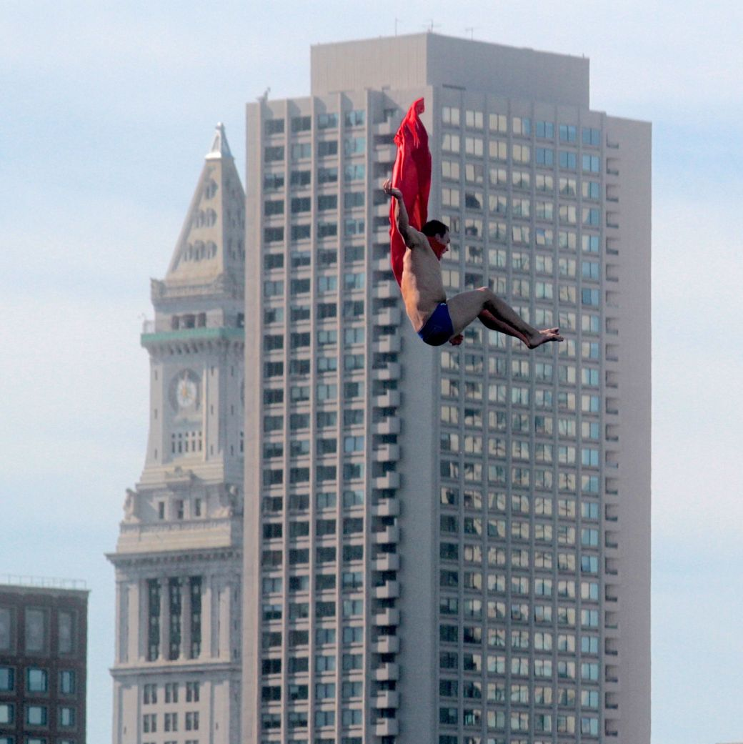 boston institute of contemporary art diving competition august 25 2013 superman red cape with customs house in the background