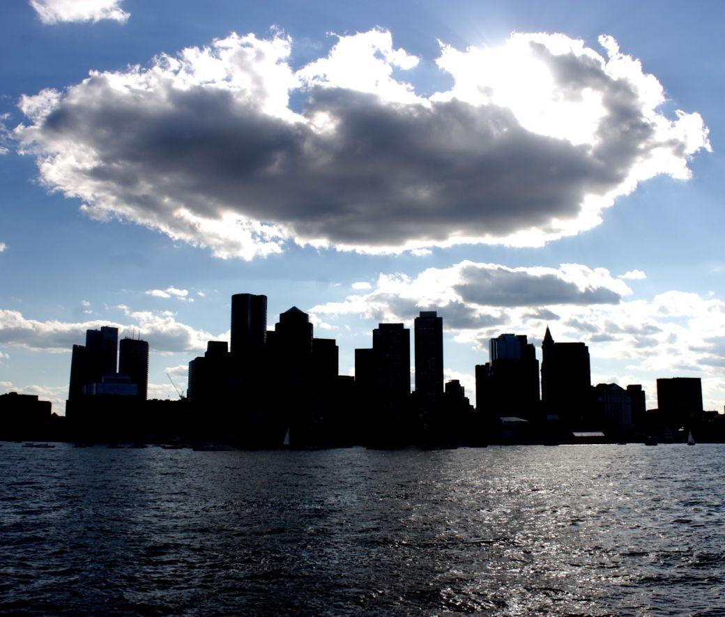 boston sky line view cloud