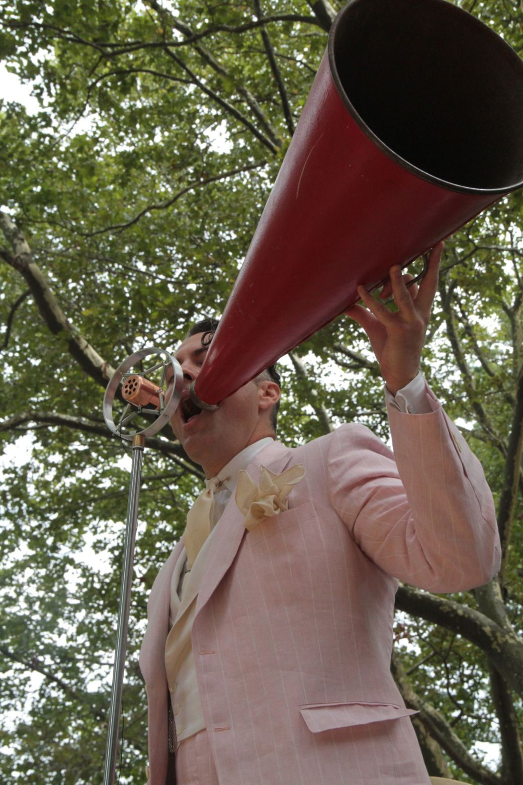 new york city governors island 20 jazz age party 2013 michael arenella with megaphone