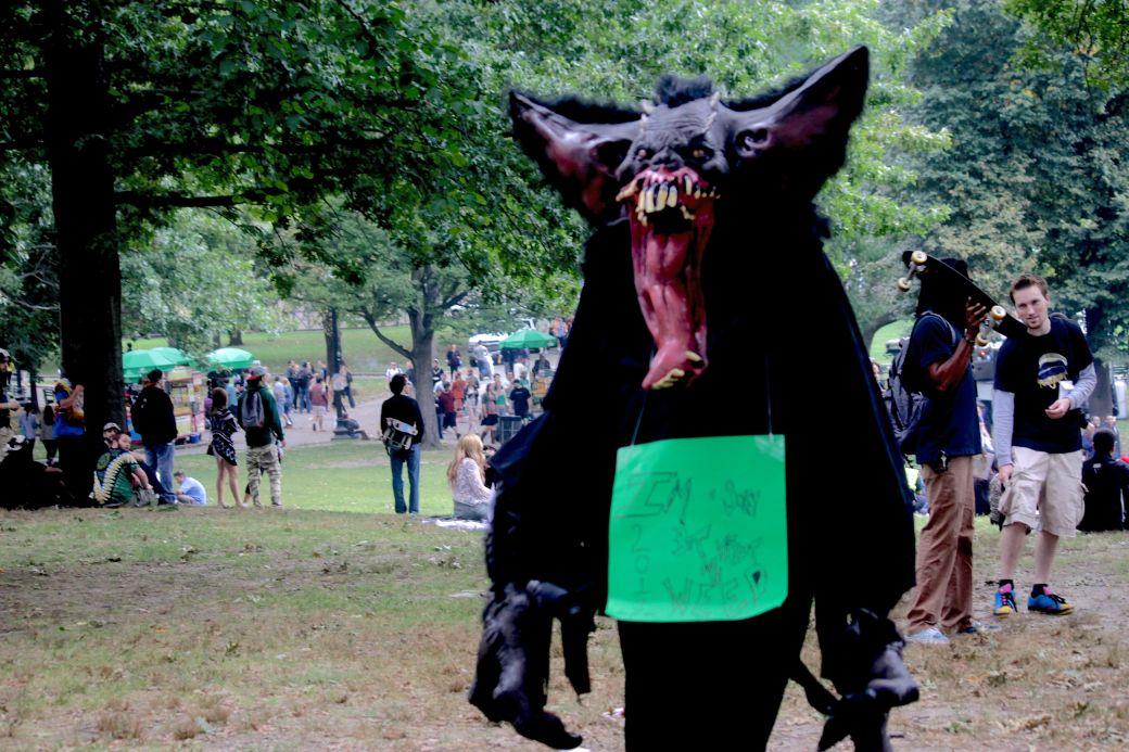 boston hemp fest 2013 giant rat costume woods