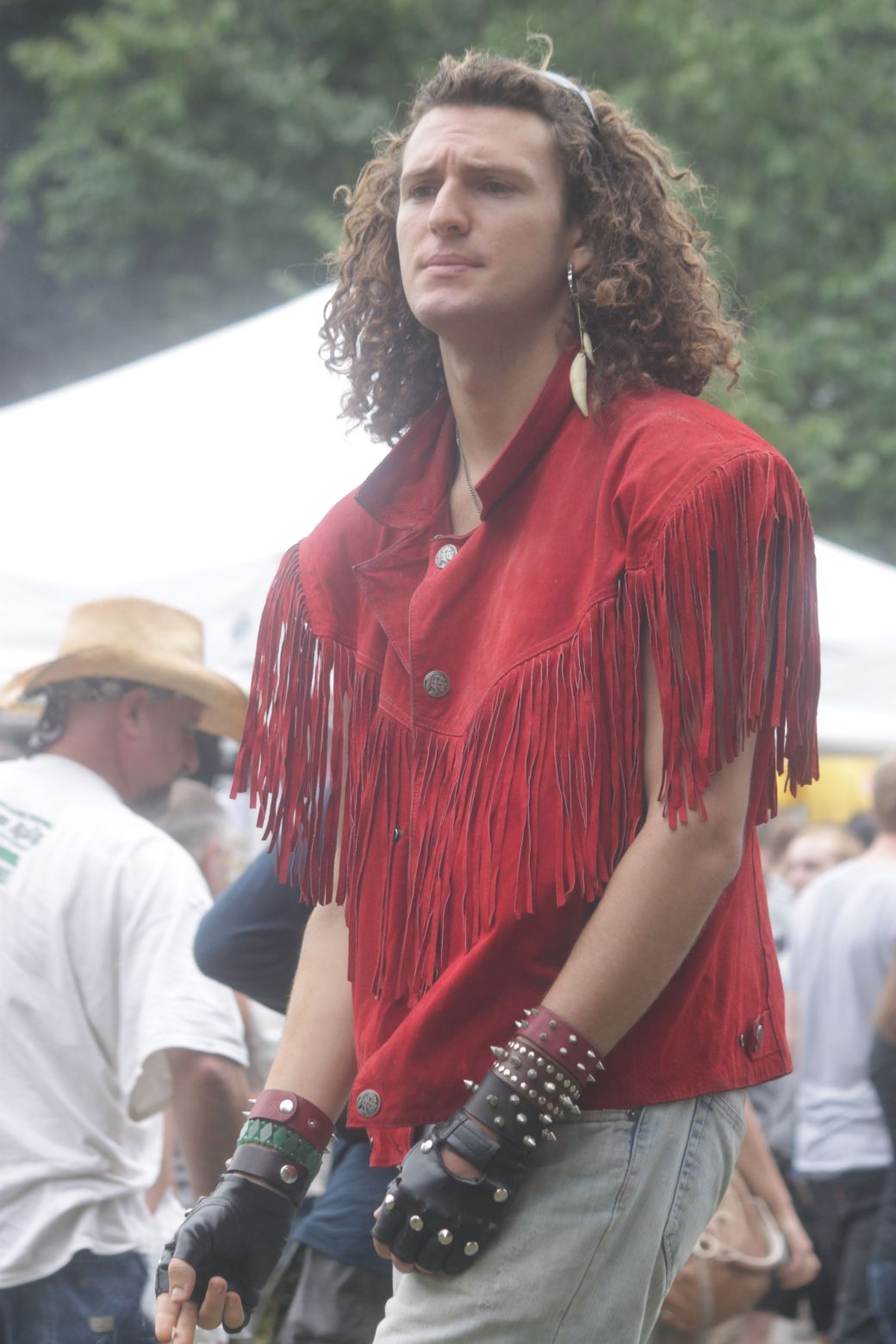 boston hemp fest 2013 man in red fringe jacket other view