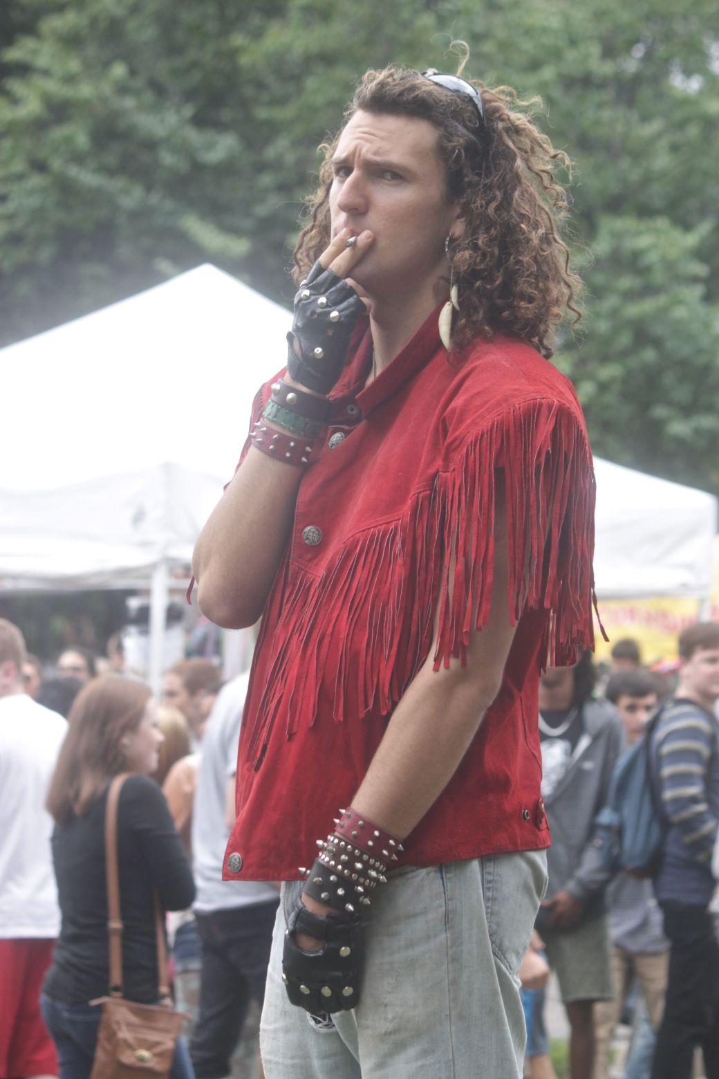 boston hemp fest 2013 man in red fringe jacket smoking