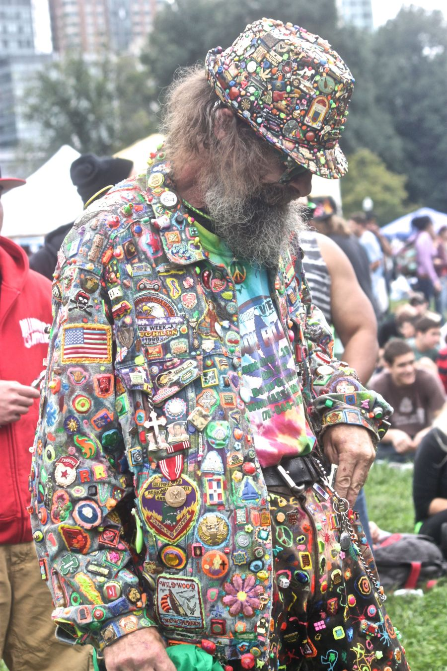 boston hemp fest 2013 man with patches all over suit