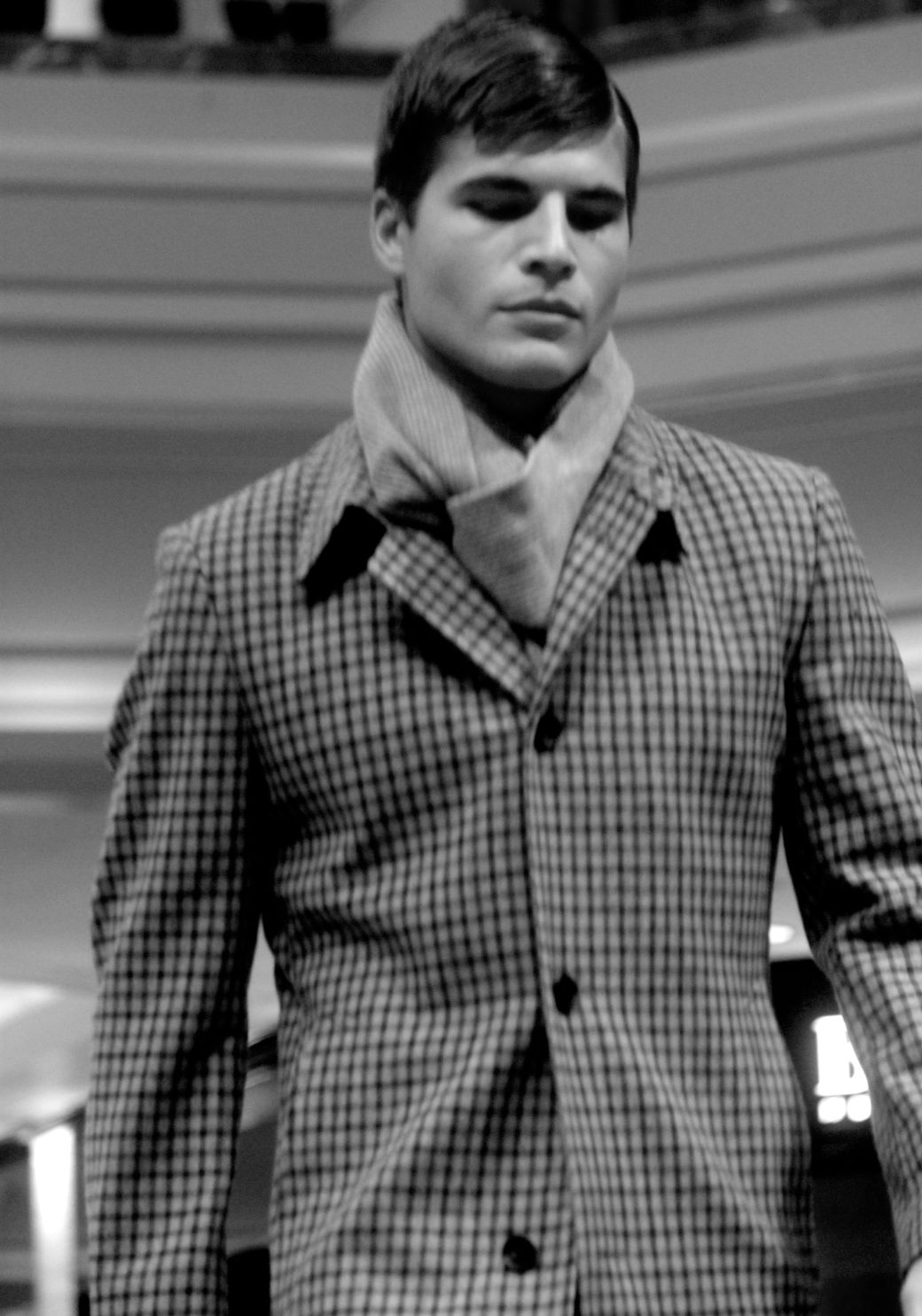 boston fashion week october 2 man in plaid coat black white