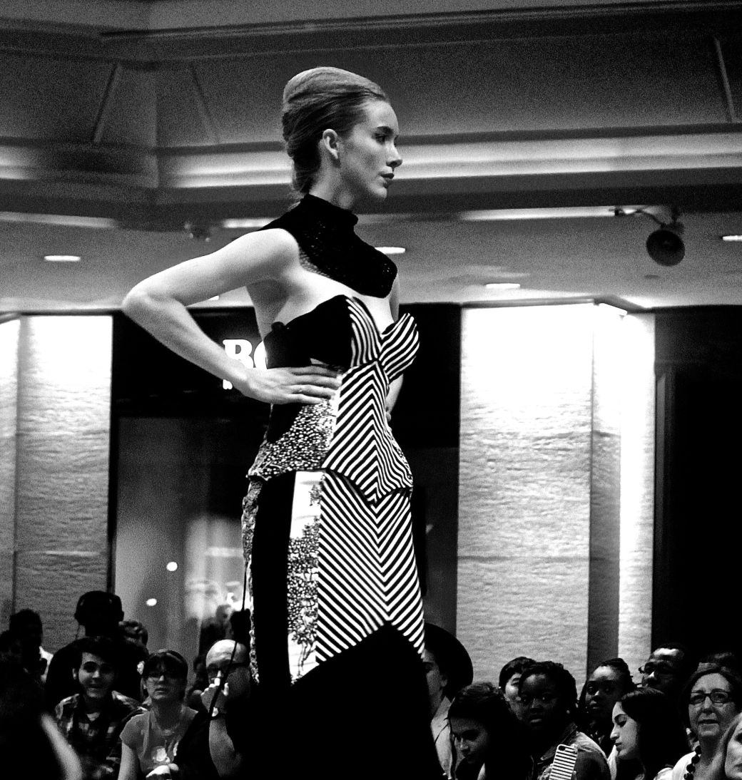 boston fashion week october 2 striped dress black white