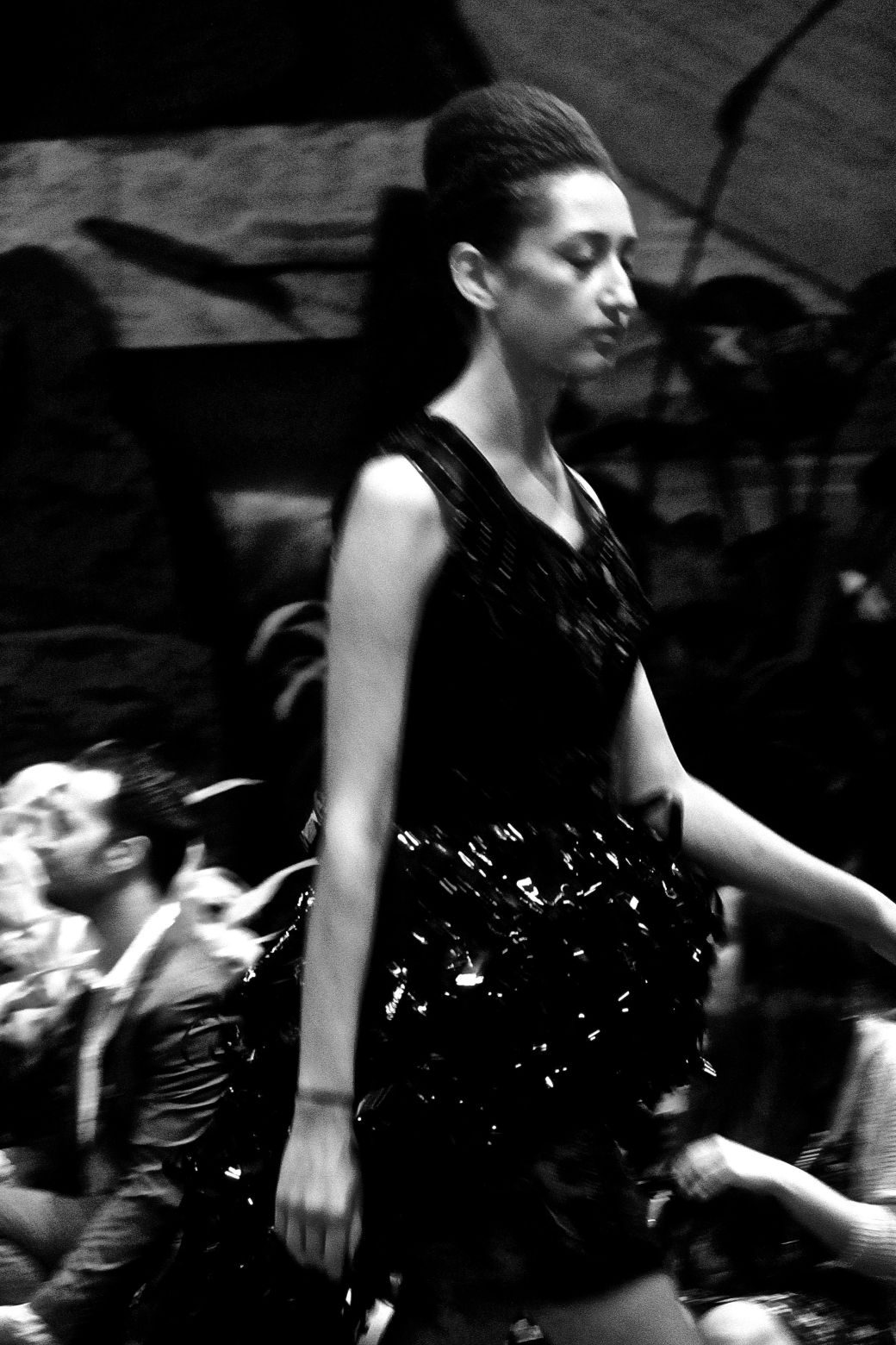 boston fashion week october 2 woman in black dress