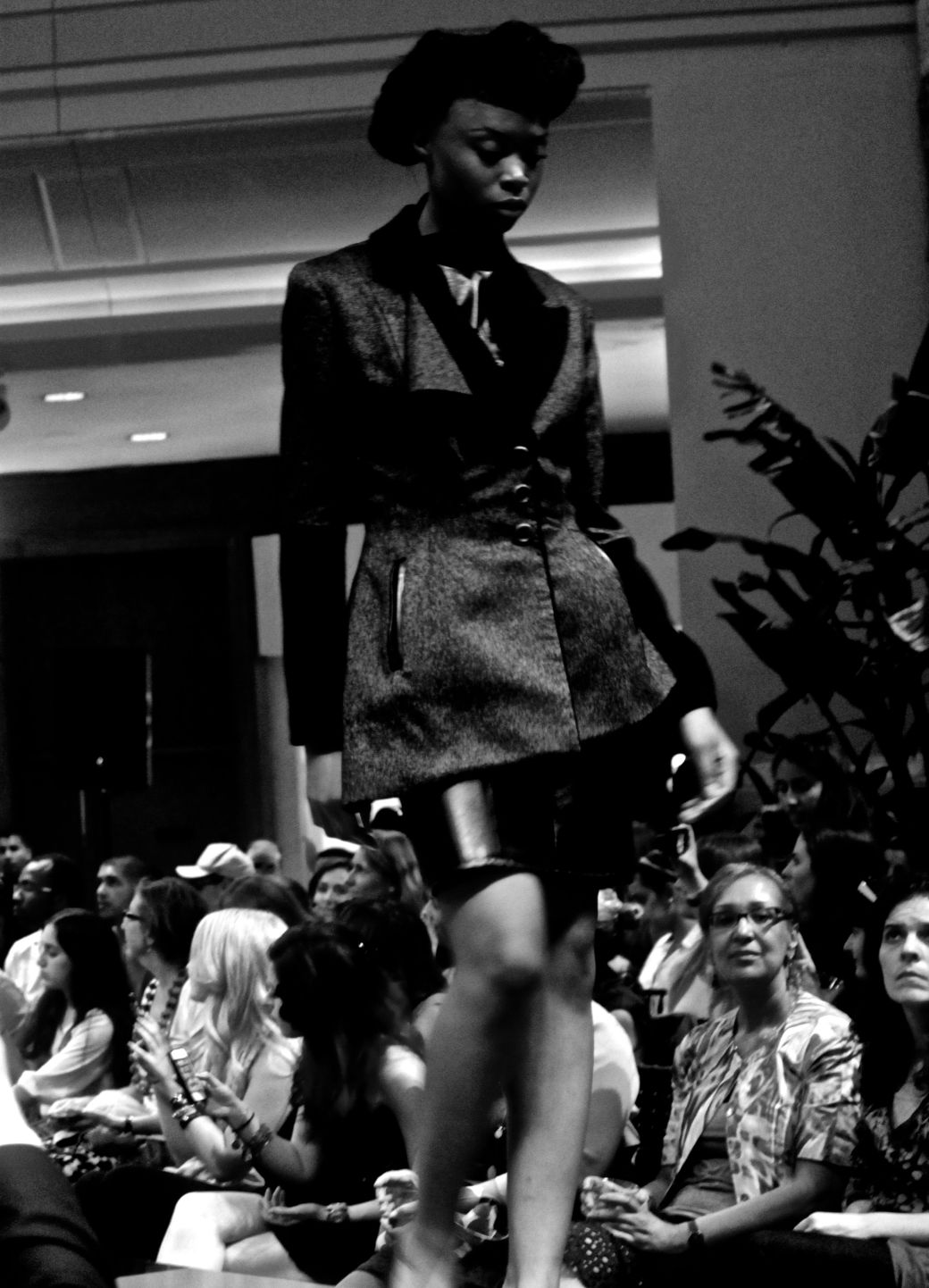 boston fashion week october 2 woman in black suit