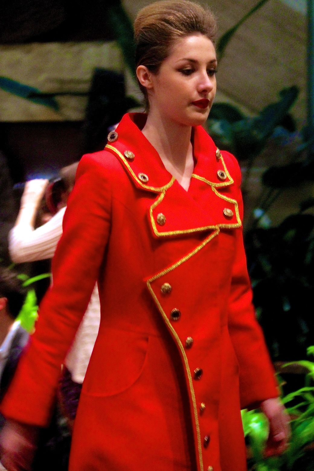 boston fashion week october 2 woman in red coat front