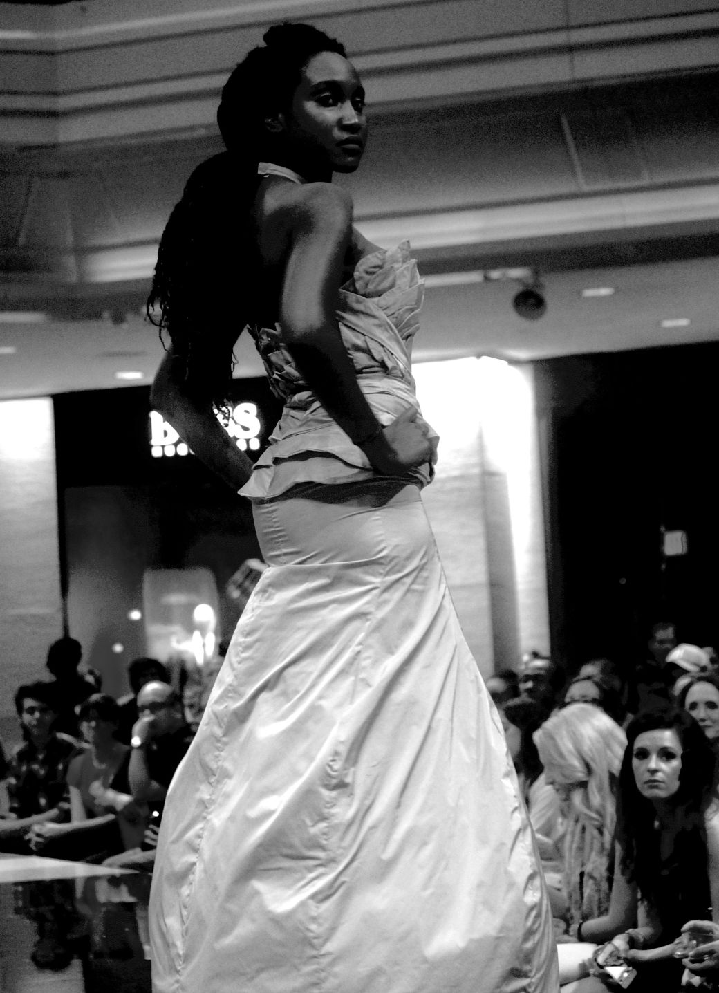 boston fashion week october 2 woman in white dress