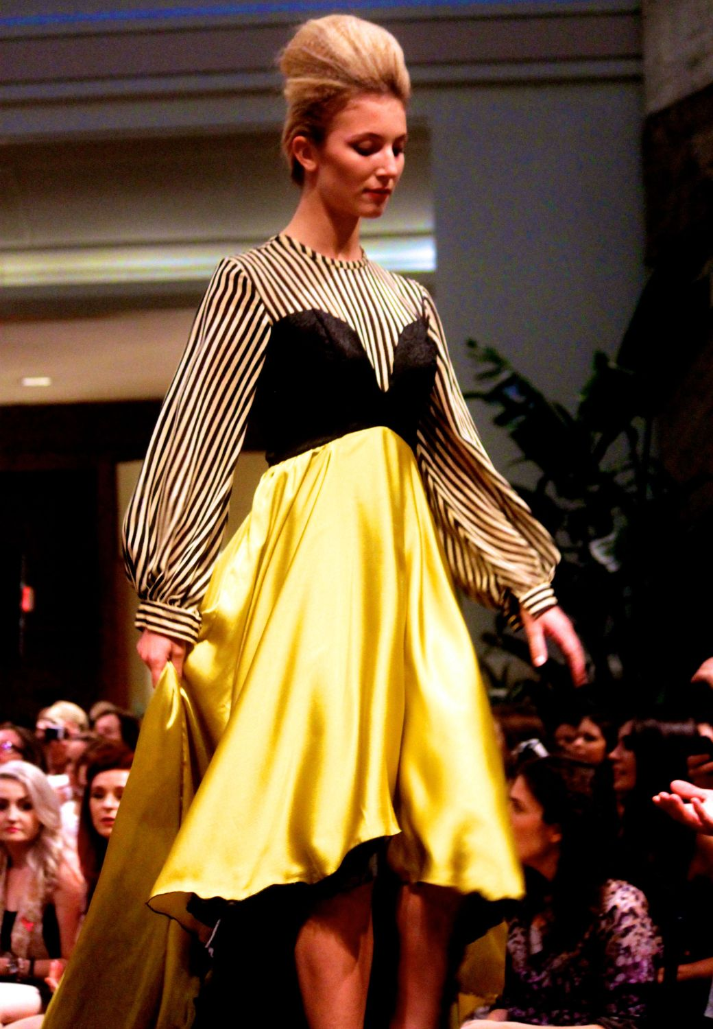 boston fashion week october 2 yellow dress stripes