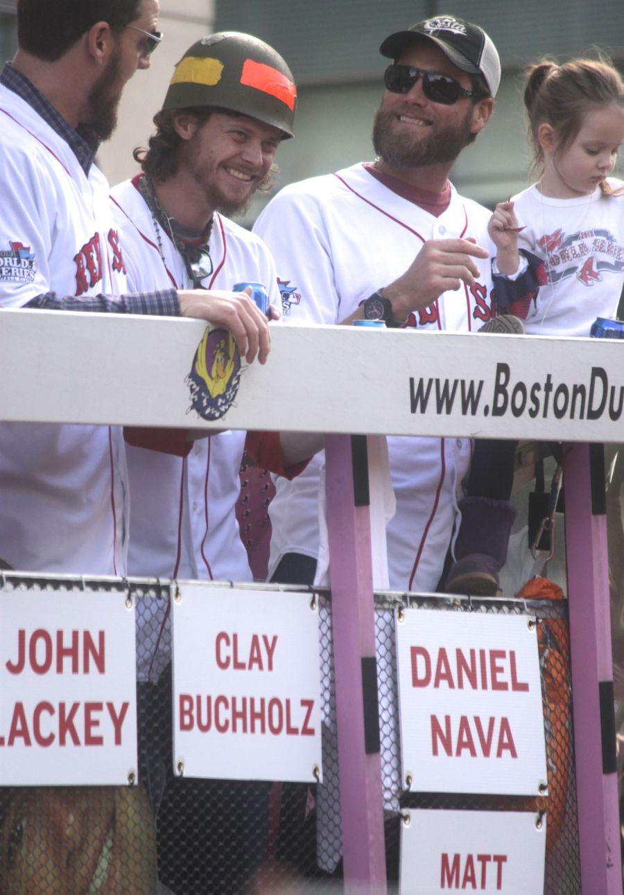 boston red sox world series celebration 2013 john lackey clay buchholiz daniel nava