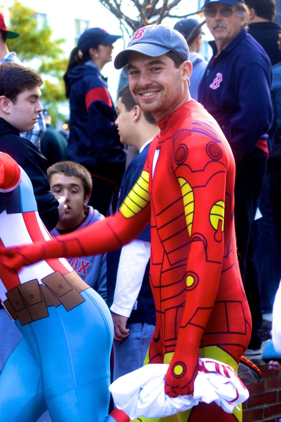 boston red sox world series celebration 2013 man in red body suit