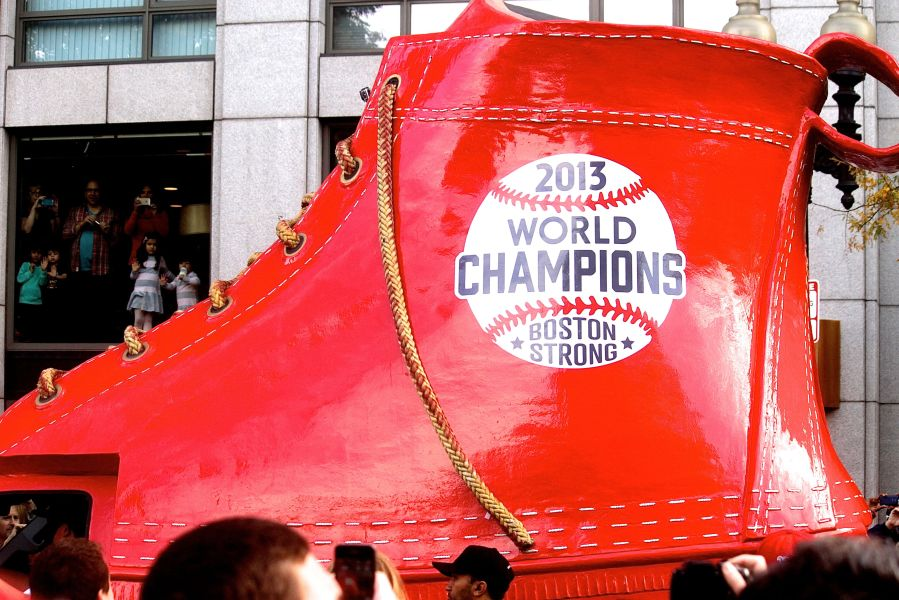 boston red sox world series celebration 2013 red shoe
