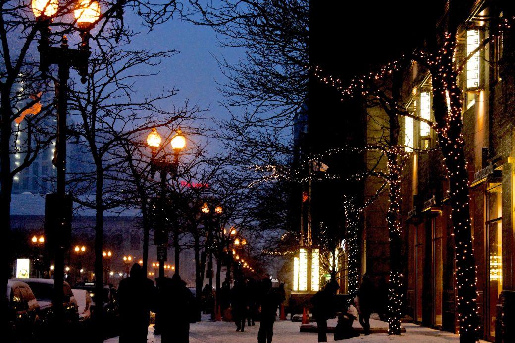 boston boylston street lights winter snow