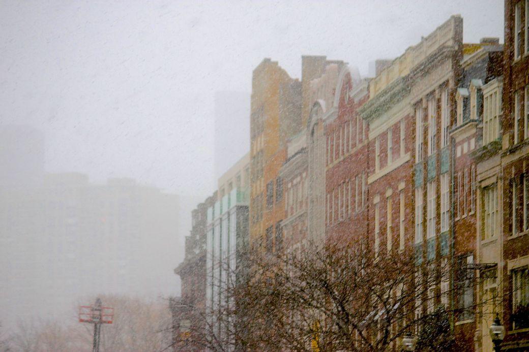 boston newbury street buildings snow